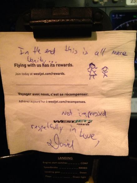 westjet passenger leaves sexist note for female pilot