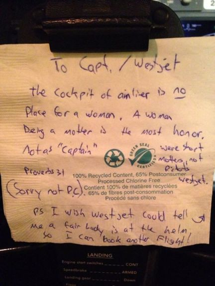 westjet passenger leave sexist note to female pilot