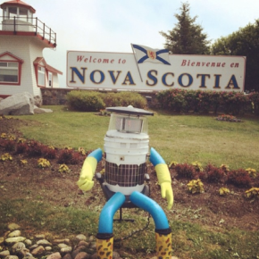 HitchBOT, the adorable hitchhiking robot, starts journey