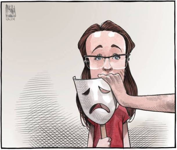 A cartoon by Bruce MacKinnon summarizes the publication ban on Rehtaeh Parsons' name. Source: Halifax Chronicle Herald.
