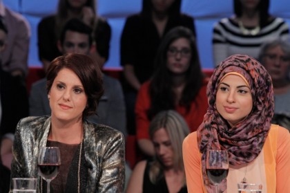 Djemila Benhabib (left) and Dalila Awada square off on Tout le monde en parle. Photo: La Presse