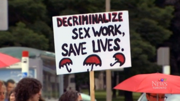 Sex workers march against Bill C-36 in Toronto. Source: CTV
