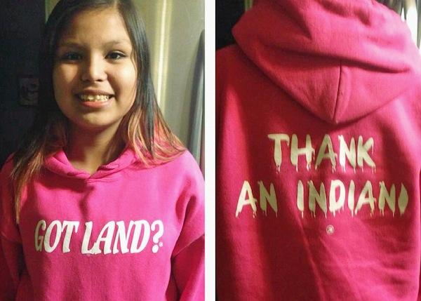 "Tenelle Starr sporting her ""Got Land? Thank an Indian"" sweatshirt. Source: Tenelle Starr via Metro News"