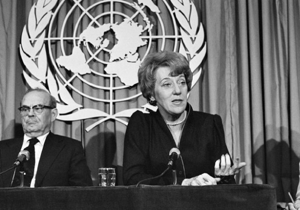 Flora MacDonald at the UN in 1979.  Source: UN Photo/Yutaka Nagata