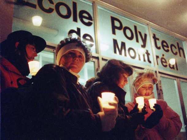 Mourners gather in vigil for victims of the Polytechnique Massacre, December 7th 1989. Credit: Wayne Cuddington / Ottawa Citizen