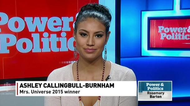 Ashley Callingbull Burnham on the set of CBC's Power and Politics