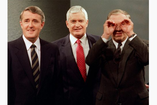 From left to right in 1988: Conservative Prime Minister Brian Mulroney, Liberal leader John Turner, and NDP leader Ed Broadbent. Photo: The Canadian Press/Fred Chartrand